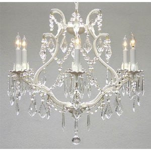 "Swarovski Crystal Trimmed Chandelier! White Wrought Iron Crystal Chandelier Lighting H 19"" W 20"" Swag Plug In-Chandelier W/ 14' Feet Of Hanging Chain And Wire! - A83-B17/White/3530/6 Sw"