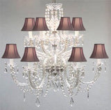 Swarovski Crystal Trimmed Chandelier Murano Venetian Style All-Crystal Chandelier With Black Shades - F46-Sc/385/6+6/Black Sw