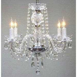 "New Authentic All Crystal Chandelier H17"" X W17"" Swag Plug In-Chandelier W/ 14' Feet Of Hanging Chain And Wire - A46-B15/275/4"