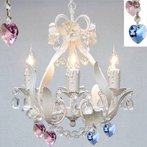 White Iron Crystal Flower Chandelier Lighting W/ Blue And Pink Crystal Hearts - Perfect For Boys And Girls Bedroom - J10-B85/B21/White/26027/4