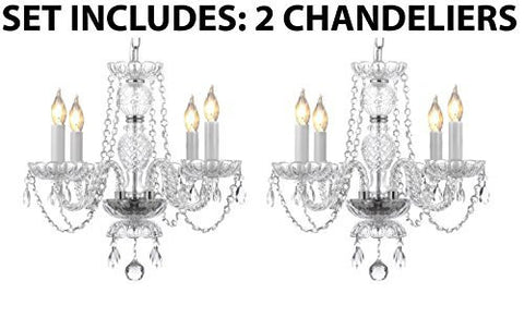 "Two Piece Lighting Set - Pair Of Kitchen Island Mini Empress Crystal (Tm) Chandeliers Lighting H17"" X W17"" - 2Ea G46-275/4"