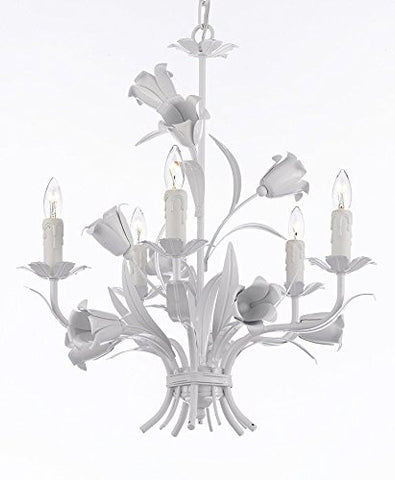Five light 23X19 Wrought Iron Chandelier Lighting Country French White Ceiling Fixture Wrought Country French - 325/5 white-us