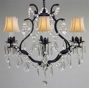 "Wrought Iron Crystal Chandelier Lighting H 19"" W 20"" - With White Shades - A83-Whiteshades/3530/6"