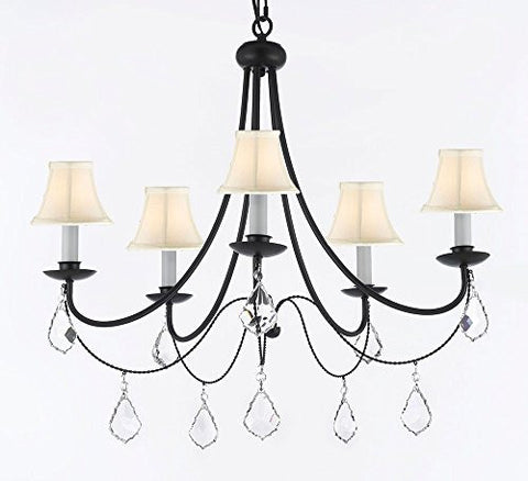 "Empress Crystal (Tm) Wrought Iron Chandelier Lighting H.22.5"" X W.26"" With White Shades Swag Plug In-Chandelier W/ 14' Feet Of Hanging Chain And Wire - J10-B16/Sc/Whiteshades/B7/26031/5"