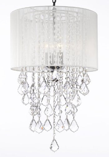 "Crystal Chandelier With Large White Shade H24"" X W15"" - G7-B7/White/3/604/3"