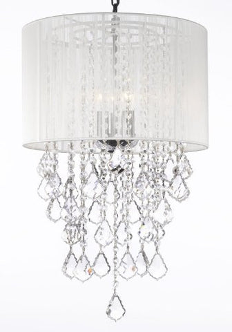 "Crystal Chandelier With Large White Shade H24"" X W15"" - G7-B7/White/3/26028/3"