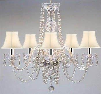 "Swarovski Crystal Trimmed Chandelier! Authentic All Crystal Chandelier And White Shades w/Chrome Sleeves! H25"" W24"" - A46-B43/WHITESHADES/384/5SW"