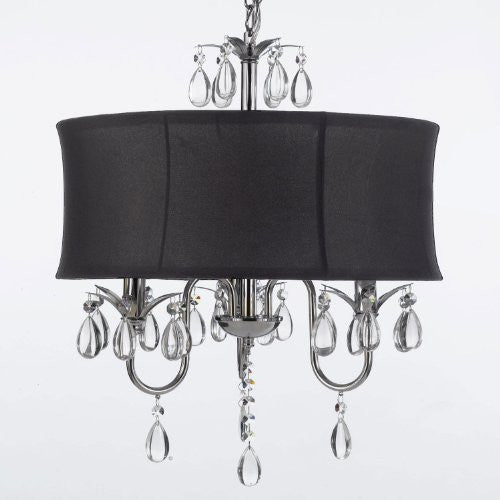 Modern Contemporary Black Drum Shade & Crystal Ceiling Chandelier Pendant Lightning Fixture - A7-Black/834/3