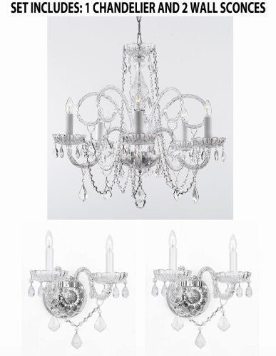 Three Piece Lighting Set - Crystal Chandelier And 2 Wall Sconces - 1Ea 385/5 + 2Ea B12/2/386