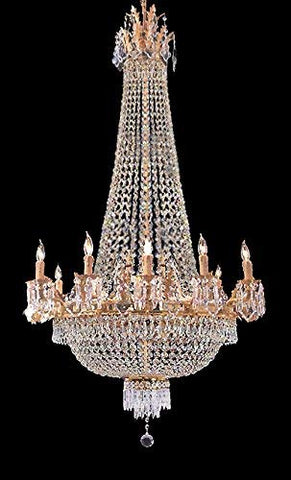 "Swarovski Crystal Trimmed French Empire Gold Crystal Chandeliers Lighting W 25"" H52"" 12 Lights - Great for The Dining Room, Foyer, Entry Way, Living Room - A93-C7/1280/8+4SW"