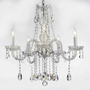 "Authentic All Crystal Chandeliers Lighting Chandeliers H27"" X W24"" Swag Plug In-Chandelier W/ 14' Feet Of Hanging Chain And Wire! - A46-B15/B14/384/5"
