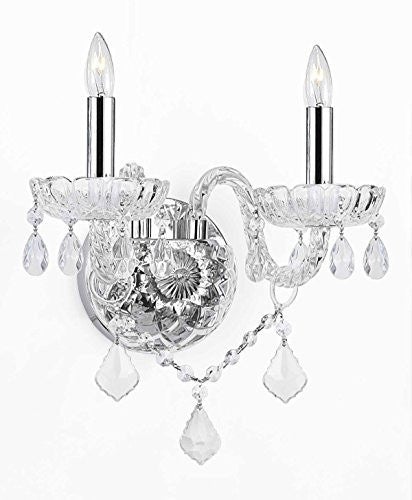 "Murano Venetian Style Crystal Wall Sconces Lighting With Chrome Sleeves H10"" W10"" - G46-B43/2/386"
