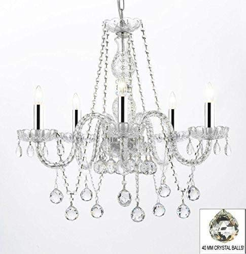 "Authentic All Crystal Chandeliers Lighting Chandeliers with Crystal Balls W/Chrome Sleeves! H27"" X W24"" - G46-B43/B37/384/5"