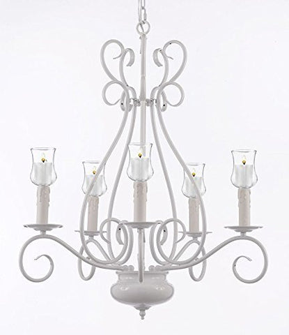 "Wrought Iron Chandelier Lighting With Votive Candles ! H 25.5"" W 25.5""- For Indoor / Outdoor Use! Great For Outdoor Events, Hang From Trees / Gazebo / Pergola / Porch / Patio / Tent ! - P7-/White/B31/441/5"