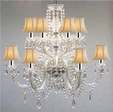 Swarovski Crystal Trimmed Chandelier! Murano Venetian Style All-Crystal Chandelier with White Shades w/Chrome Sleeves! - F46-B43/SC/385/6+6/White SW
