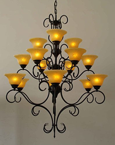 "Wrought Iron Chandelier Lighting H47"" X W40"" - G7-2197/15"