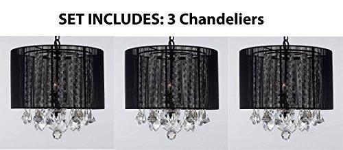 "Set Of 3 Crystal Chandelier With Large Black Shade H15"" X W15"" - Set Of 3 G7-Black/604/3"