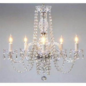 "Swarovski Crystal Trimmed Chandelier! Chandelier H25"" X W24"" Swag Plug In-Chandelier W/ 14' Feet Of Hanging Chain And Wire! - A46--B15/384/5Sw"