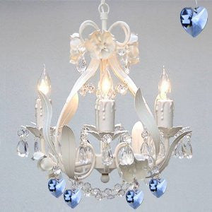 White Iron Crystal Flower Chandelier Lighting W/ Blue Crystal Hearts - Perfect For Boys And Girls Bedroom - J10-B85/White/26027/4
