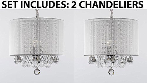 Set Of 2 - Crystal Chandelier With Large White Shade! H15 - 2Ea A9-White/604/3