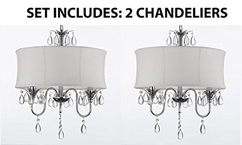 Set Of 2 - White Drum Shade Crystal Ceiling Chandelier Pendant Light Fixture Lighting Lamp - J10-White/26033/3-Set Of 2