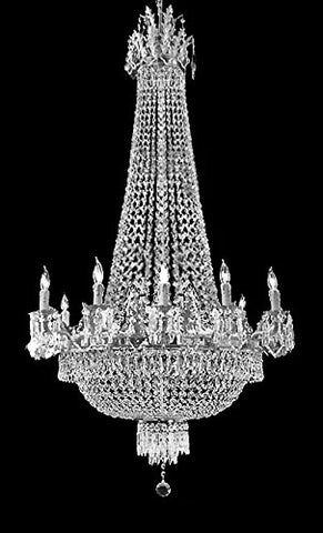 "French Empire Silver Crystal Chandelier Chandeliers Lighting W25"" H52"" 12 Lights - Great for The Dining Room, Foyer, Entry Way, Living Room! - A93-C7/CS/1280/8+4"