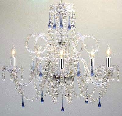 Blue Crystal Chandelier Chandeliers Lighting W/Chrome Sleeves - A46-B43/387/5BLUE