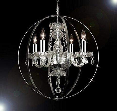 "Swarovski Crystal Trimmed Chandelier! Spherical ORB Crystal Chandelier Lighting W/Chrome Sleeves H 23"" W 23"" - GO-B43/A46-B66/275/4SW"