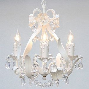 "Wrought Iron Floral Chandelier Crystal Flower Chandeliers Lighting H15"" X W11"" Swag Plug In-Chandelier W/ 14' Feet Of Hanging Chain And Wire - J10-B17/White/Cl/26027/4"