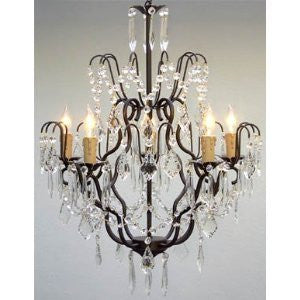 "Wrought Iron Crystal Chandelier Lighting H27"" X W21"" Swag Plug In-Chandelier W/ 14' Feet Of Hanging Chain And Wire - A7-B16/C/3033/5"