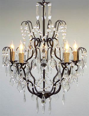 "Wrought Iron Crystal Chandelier Lighting H27"" X W21"" - Go-J10-C/26034/5"