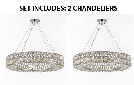 "Set Of 2 - Crystal Spiridon Ring Chandelier Chandeliers Modern / Contemporary Lighting Pendant 32"" Wide - Good For Dining Room Foyer Entryway Family Room And More - Gb104-3063/12-Set Of 2"