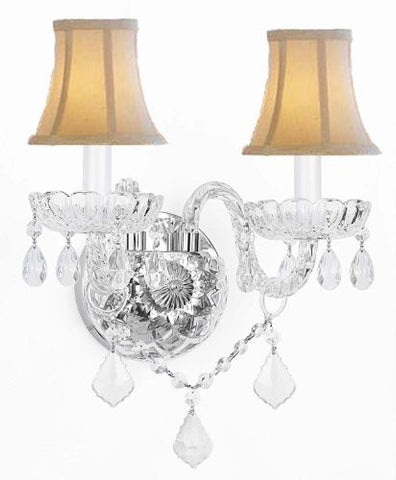 Murano Venetian Style Crystal Wall Sconce Lighting With White Shades! - G46-Whiteshades/B12/2/386