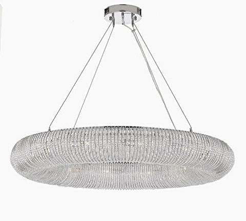 "Crystal Halo Chandelier Modern / Contemporary Floating Orb Chandelier 60"" W - Good For Dining Room Foyer Entryway Family Room & More - Gb104-3132/18"