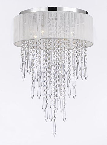 Flushmount 4-Light Chrome And White Shade Empress Crystal (Tm) Chandelier Lighting - G7-B27/B12/2130/4