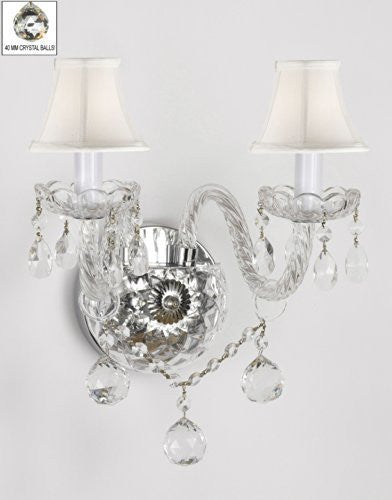 Murano Venetian Style All-Crystal Wall Sconce With Crystal Balls And - With White Shades - G46-Whiteshades/B6/2/386