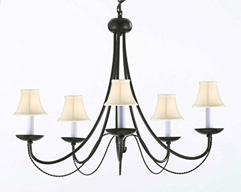 "Wrought Iron Chandelier Lighting With White Shades H22"" X W26"" - J10-Whiteshades/26031/5"