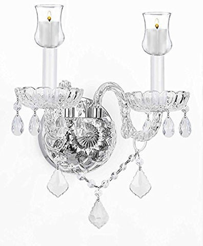 Murano Venetian Style Crystal Wall Sconce Lighting W/ Candle Votive Cups - No Electrical Wiring Needed! Can Use With Candles Or Battery Operated Led Lights (Not Included) - G46-B31/B12/2/386