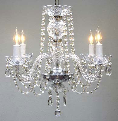 "New! Authentic All Crystal Chandelier H17"" X W17"" - Go-A46-275/4"