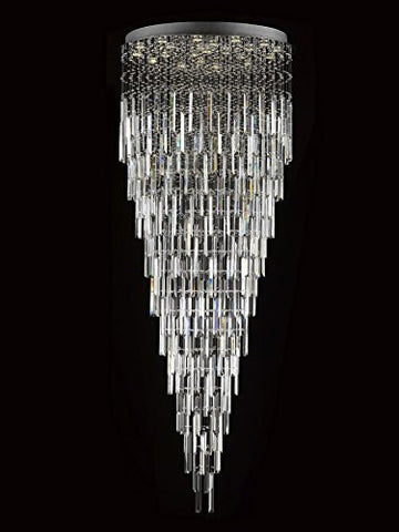 "Modern Contemporary Chandelier ""Rain Drop"" Chandeliers Lighting With Crystal Bars W 36"" X H 90"" - F93-B28/815/22"