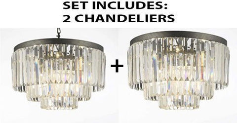 "Set Of 2 - Palladium Crystal Glass Fringe 3-Tier Chandelier Lighting H 21.5"" W 19.75"" + Palladium Empress Crystal (Tm) Glass Fringe 3-Tier Flush Chandelier Lighting H 21.5"" W 19.75"" - 1Ea-G7-1100+1Ea-G7-Flush/1100/9"