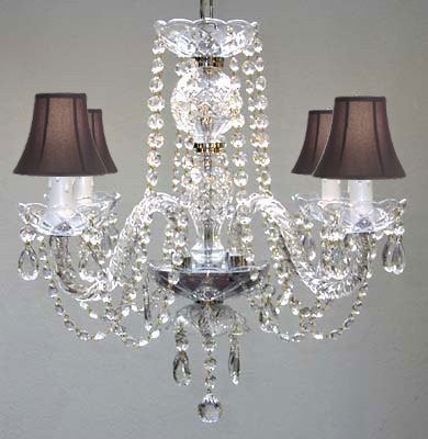 All Crystal Chandelier With Black Shades - A46-Blackshades/275/4