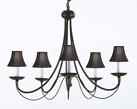"Wrought Iron Chandelier Lighting With Black Shades! H22"" X W26"" Swag Plug In-Chandelier W/ 14' Feet Of Hanging Chain And Wire! - A7-Blackshades/B16/403/5"
