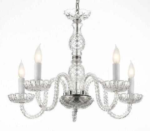 "Murano Venetian Style Crystal Chandelier Lighting H 25"" W 24"" - G46-B11/384/5"
