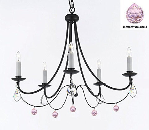 "Empress Crystal (Tm) Wrought Iron Chandelier Lighting H.22.5"" X W.26"" With Pink Balls Crystals - J10-B76/B7/26031/5"