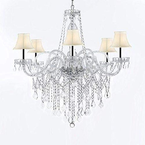 "Murano Venetian Style All-Crystal Chandelier Chandeliers with White Shades W/Chrome Sleeves H38"" X W32"" - G46-B43/SC/WHITESHADES/B12/B67/385/6"