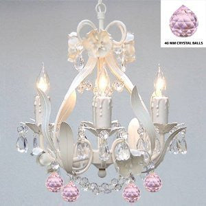 White Iron Crystal Flower Chandelier Lighting W/ Pink Crystal BallsSwag Plug In-Chandelier W/ 14' Feet Of Hanging Chain And Wire - Perfect For Kid'S And Girls Bedroom - A7-B17/B76/White/326/4