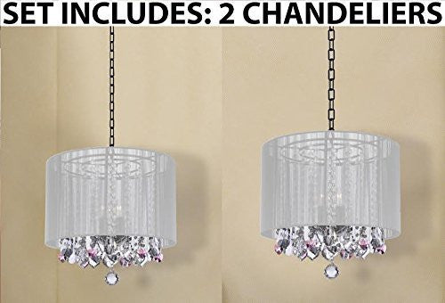 Set Of 2 - Crystal Chandeliers Chandelier With Large White Shade And Pink Crystal Hearts H15 - 2Ea G7-B21/White/604/3