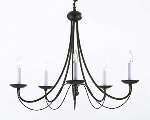 "Wrought Iron Chandelier Lighting H22"" X W26"" With Swag Plug In-Chandelier W/ 14' Feet Of Hanging Chain And Wire - J10-B16/26031/5"