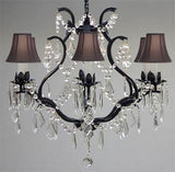 "Swarovski Crystal Trimmed Chandelier Wrought Iron Crystal Chandelier Lighting H 19"" W 20"" - With Black Shades - A83-Blackshades/3530/6 Sw"